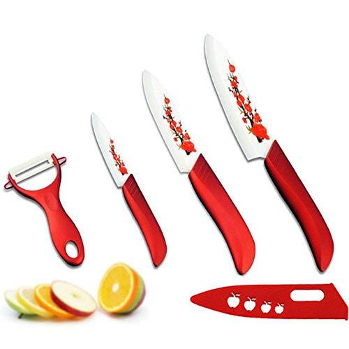 d Flower Painted Zirconia Ceramic Fruit Knife Set Kit 3 Quot 5 6 39 Inch Peeler Cove - Kitchen Knife Ceramic Fruit Kitchen Knives Knive Ceramic Knife Rubber Door Guard ()