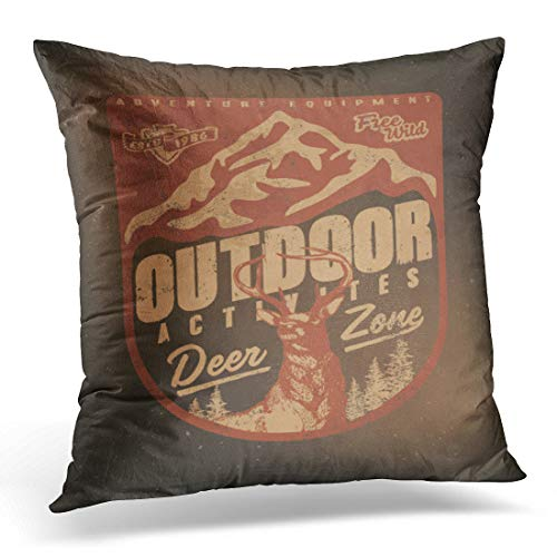 """Emvency Throw Pillow Cover Wilderness Deer Wild Vintage Tee Camping and Adventure Emblems Decorative Pillow Case Home Decor Square 18"""" x 18"""" Pillowcase"""