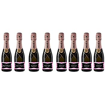 Amazon.com: 8 pack Labels for Mini Champagne Bottle & Gift Box ...