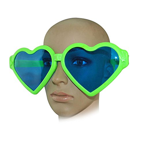 Kicode Heart Shaped Fashion Oversized Retro Sunglasses Blue Lens Cute Love Eyewear For Favor Photo Halloween - Different Shaped Faces Glasses For