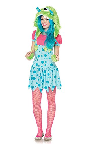 [Mememall Fashion One-Eyed Erin Teen Monster Halloween Costume] (Red Furry Monster Costume)