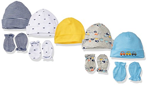 gerber-baby-boys-pack-of-5-4-pair-cars-cap-0-6m-mitten-0-3m