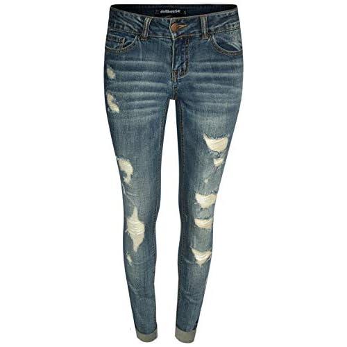 70add8ac334 dollhouse Women's Distressed Roll Cuff Stretch Denim Skinny Jeans