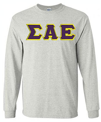 Greekgear Men's Sigma Alpha Epsilon Fraternity Greek Lettered Long Sleeve T-Shirt XXXX-Large Light Grey