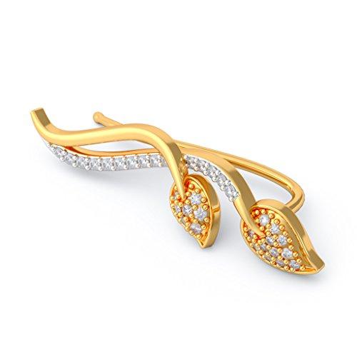 14K Or jaune 0,43CT TW White-diamond (IJ | SI) Boucles d'oreille à tige