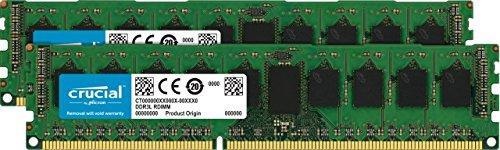 (Crucial 16GB Kit (8GBx2) DDR3/DDR3L 1600 MT/s (PC3-12800) DR x8 ECC UDIMM 240-Pin Memory - CT2KIT102472BD160B )