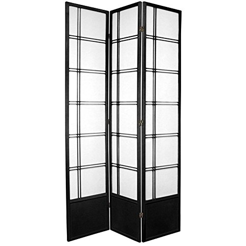 Oriental Furniture 7 ft. Tall Double Cross Shoji Screen - Black - 3 Panels (Asian Contemporary Floor Lamp)