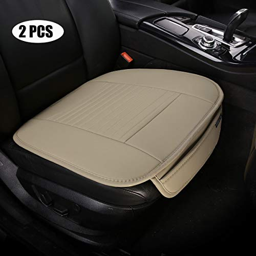 - EDEALYN (19.7 inches deep × 20.87 wide) (2PCS) PU leather Car seat cover Car Accessories Car Seat Protector Seat Covers Universal Car, (Beige-N)