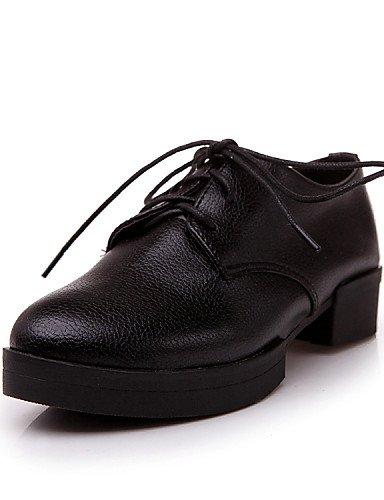 ZQ Zapatos de mujer - Tacón Robusto - Plataforma / Punta Redonda - Oxfords - Casual - Cuero - Negro / Blanco / Plata , silver-us6 / eu36 / uk4 / cn36 , silver-us6 / eu36 / uk4 / cn36 silver-us5.5 / eu36 / uk3.5 / cn35