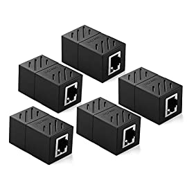 UGREEN RJ45 Coupler 5 Pack in Line Coupler Cat7 Cat6 Cat5e Ethernet Cable Extender Adapter Female to Female 140 USAGE: Ugreen RJ45 Coupler extender is ideal for extending ethernet connection by connecting 2 short network cables together. FAST SPEED To 10 GIGABITE: The RJ45 connector can speed up to 10 gigabite for connecting Cat7/Cat6 ethernet cable. SAFE And SECURE: With nickel plated contacts and easy snap-in retaining clip, the coupler ensure a secure and corrosion free connection.