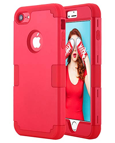 Petocase Compatible iPhone 8 Case, Heavy Duty Slim Shockproof Drop Protection Hybrid Hard PC Covers Soft Rubber Bumper Protective Case for iPhone 8/7-Red