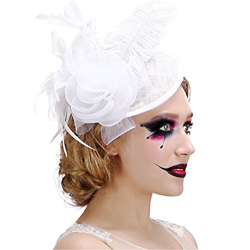 White Hats And Fascinators (Valdler Halloween Decoration Costume Womens Feather Mesh Net Sinamay Fascinator Hat with Hair Clip Tea Party Derby)