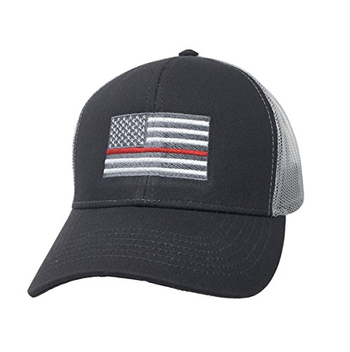 American Flag with Firefighter Red Stripe Embroidered Trucker Mesh Hat-Charcoal with White Mesh