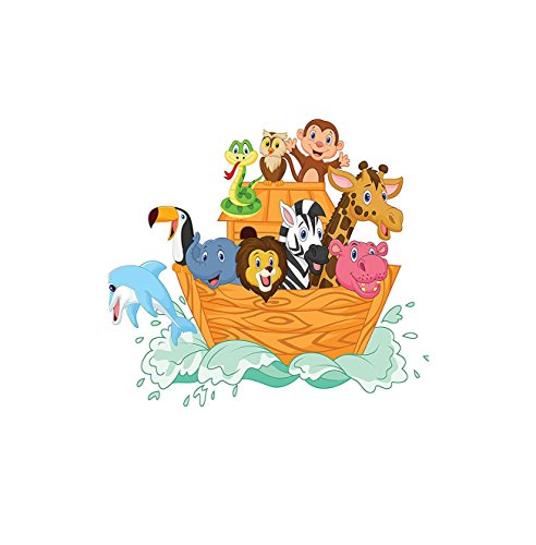 Kisscase Custom Blanket Noahs Ark Fun Animals in Noahs Ark Floating Myth Creatures Grace Nature Theme Illustration Art Bedroom Living Room Dorm Multi