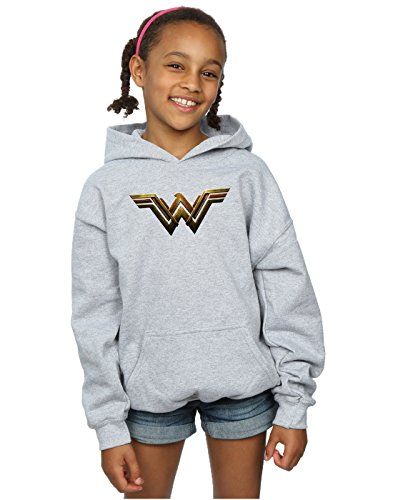 DC Comics Girls Justice League Movie Wonder Woman Emblem Hoodie 7-8 Years Sport Grey -