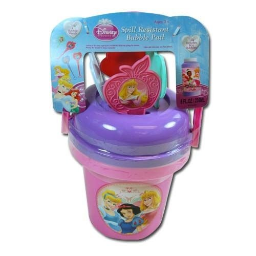 Disney Princess Pail - Disney Princess Bubble Bucket with 8oz Bubble Supply and 4 Wands with Stickers