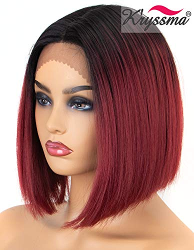 K'ryssma Ombre Burgundy Lace Front Wigs Short Bob Synthetic Wig Black Roots to Wine Red Ombre Lace Front Wig with Deep Middle Parting Heat Resistant]()