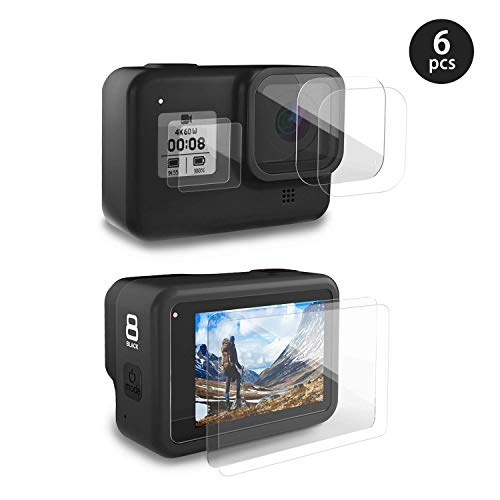 [6pcs] FINEST+ Screen Protector for GoPro Hero 8 Black Tempered Glass Screen Protector + Tempered Glass Lens Protector + Small Display Film for Go Pro Hero8 Action Camera