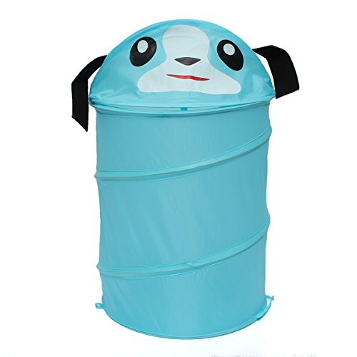 LVH Pop Up Hamper Foldable Animal Laundry Basket Toys Kids Storage Bin Tidy Basket Cylinder Sundries Box Cartoon Home Clothes Barrel ()