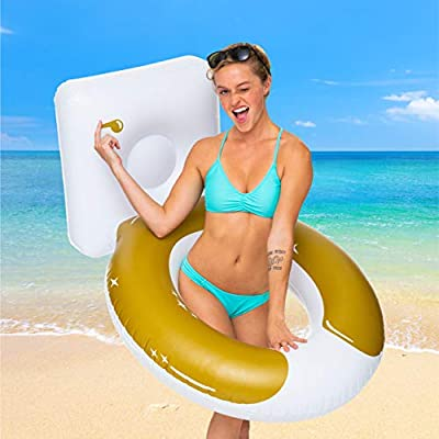 BigMouth Inc. Golden Toilet Pool Float, Thick Vinyl Raft, Holds 200 Pounds and Includes Patch Kit 48: x 48
