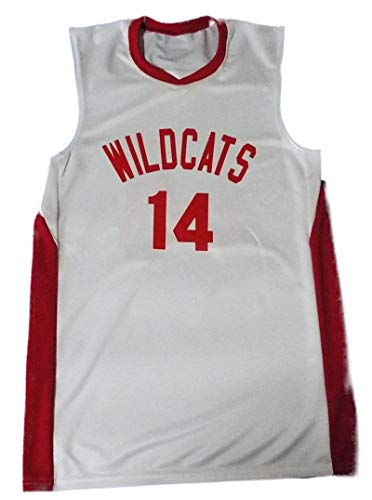 Boriz Zac E Troy Bolton 14 East High School Wildcats White Basketball Jersey (38)