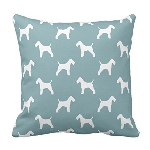 Fox Wire Terrier Silhouette (Ninjz8 Wire Fox Terrier Silhouettes Pattern Throw 18x18)