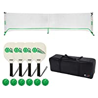 GSE Games & Sports Expert Professional Portable Pickleball Complete Set. Including Pickleball Net System, 4 Pickleball Paddles, 6 Pickleballs