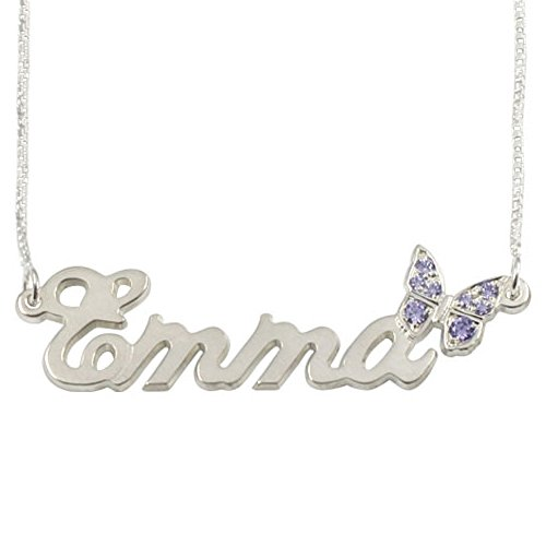 Personalized Name Necklace in Sterling Silver -Sparkling Swarovski Butterfly Name Necklace - Custom Made Any (Personalized Sterling Silver Crystal)