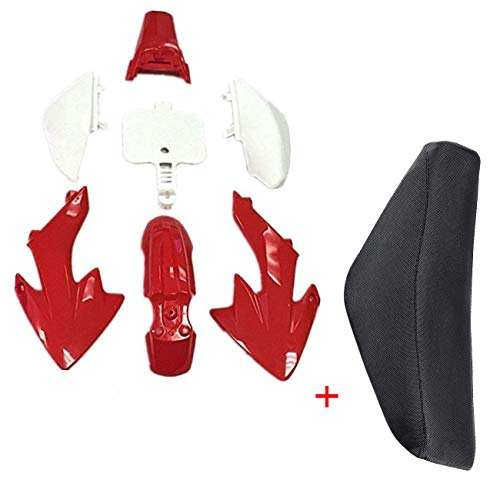 WPHMOTO Plastic Body Fairing Kit and Tall Seat For Honda CRF XR CRF50 XR50 50s 50cc 70cc 110cc 125cc Dirt Pit Bike (4Red+3White) (Body Fairing Plastic)