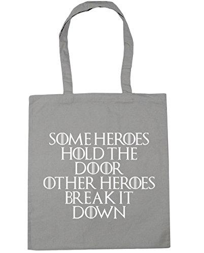 HippoWarehouse Einige Helden Halt The Door, Other Helden Break It Down Einkaufstasche Fitnessstudio Strandtasche 42cm x38cm, 10 liter - Hellgrau, One size