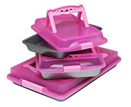 OvenStuff Nonstick Six Piece Travel Bakware Set, Perfectly Pink