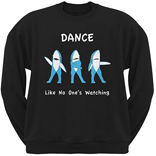 Large Mug Dance (Halftime Left Shark Dancing Black Adult Crew Neck Sweatshirt - Large)