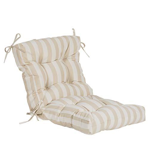 QILLOWAY Outdoor Seat/Back Chair Cushion Tufted Pillow, Spring/Summer Seasonal Replacement Cushions. (Khaki&White Stripe) ()