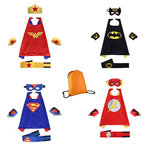 Superhero Dress Up Costumes Capes Belt Bracelet and Masks for Kids,DIY Birthday Party Dress up 4-Pack Set