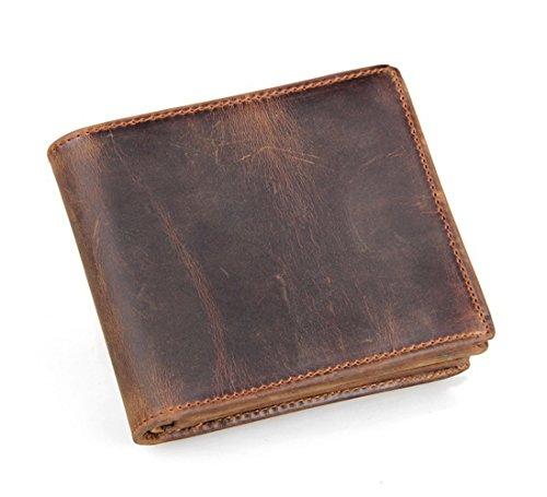 Men's RFID Blocking Vintage Italian Genuine Leather Slim Bifold Wallet Handmade(Brown)