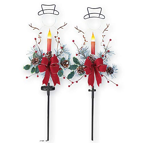 Outdoor Solar Christmas Decorations, LED Candle, Snowman and Floral Accents Garden Stakes, Set of -
