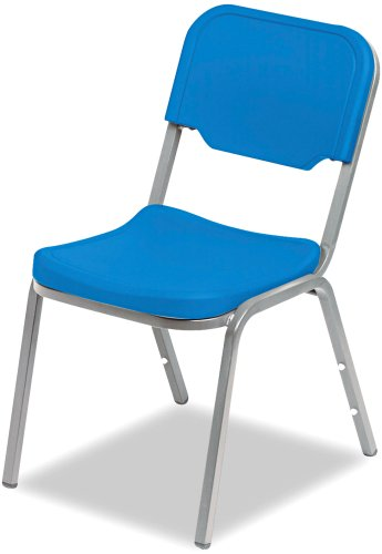 "Iceberg ICE64016 Heavy Gauge Steel Frame Rough""N""Ready Original Stack Chair, 250 lbs Load Capacity, 17-1/2"" Width x 32-1/4"" Height x 22-3/4"" Depth, Blue (Pack of 4)"