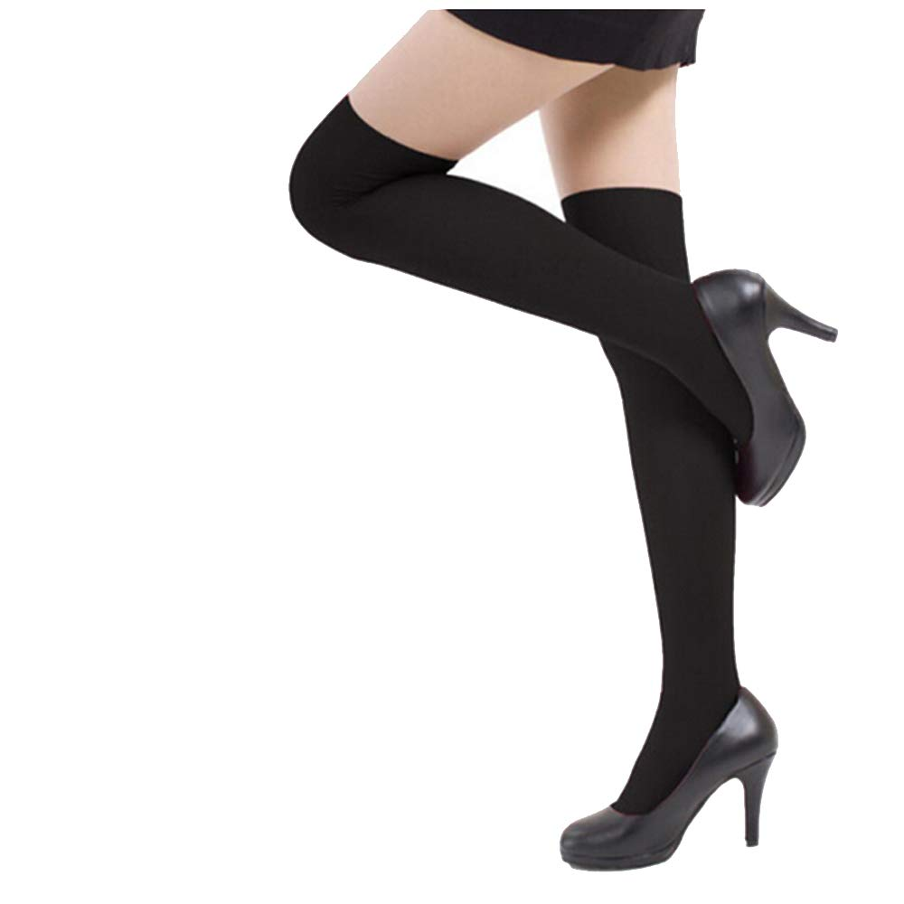 2018 New Women Sexy Over Knee High Temptation Stretch Nylon Socks Long Stocks (Black)