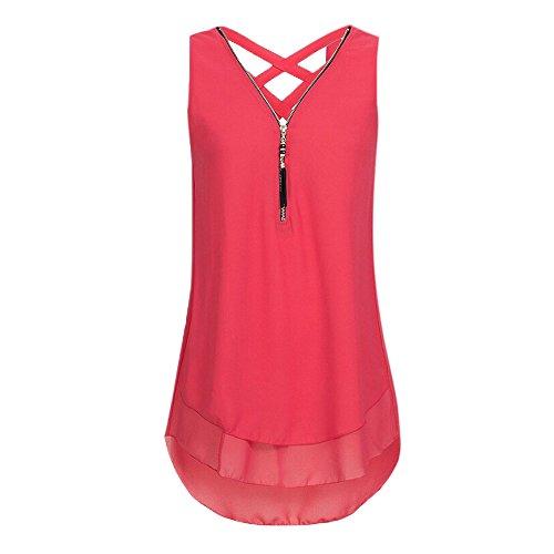 Damen Oberteile T Tops DOLDOA Sommer Reißverschluss Frauen Tank Shirt Rot BYrxBTwq