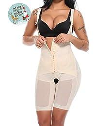 Women Open Bust Full Body Shaper Mid Thigh Bodysuit Tummy Control Underbust Shapewear