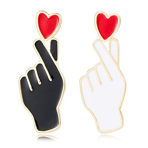 SENFAI 10K Gold Color White and Black Enamel Finger Heart Pin and Brooch (Gold)