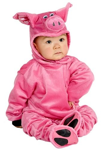 (Charades Little Pig Costume Baby Costume, -Pink,)