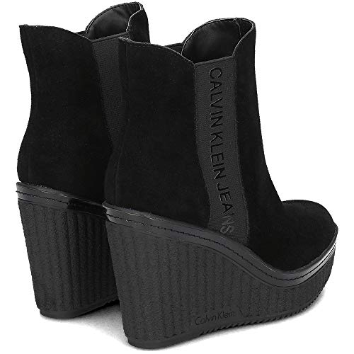 Calvin Botines Noir Femme Jeans 000 Shanna Suede Klein Black qwxnfrqCaH