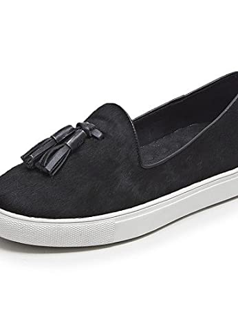 ZQ gyht Zapatos de mujer - Tacón Plano - Punta Redonda - Mocasines - Oficina y Trabajo / Casual - Pelo de Caballo - Negro / Azul / Leopardo , black-us6 ...