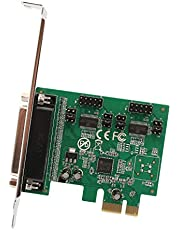 IOCrest SI-PEX50103 PCI-Express 2.0 x1, 2-Port DB9 Serial (RS-232) Plus 1-Port DB25 Parallel Printer (LPT1) Combo Card Components
