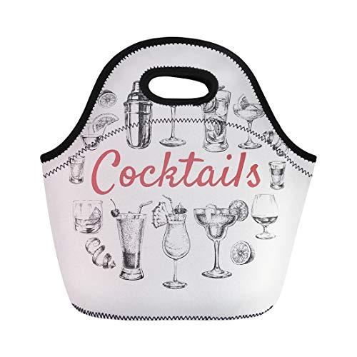 Semtomn Lunch Bags Vintage Orange Shaker of Sketch Cocktails and Alcohol Drinks Neoprene Lunch Bag Lunchbox Tote Bag Portable Picnic Bag Cooler Bag