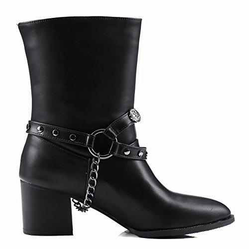 Carolbars Womens Spitse Teen Plus Size Pull-on Kettingen Mid-hiel Vallen Westernlaarzen Zwart