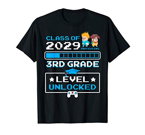 First Class T-shirt - 3rd Grade First Day Of School Video Games Gift Class Of 2029 T-Shirt