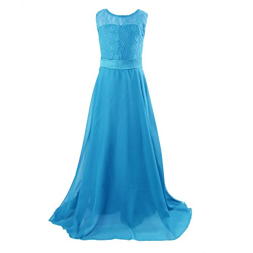 Price comparison product image Floor Length Dress for Girls, Acecharming Big Girls Lace Chiffon Bridesmaid Dress Party Blue  Size 14(Suitable for 12-13 Years)