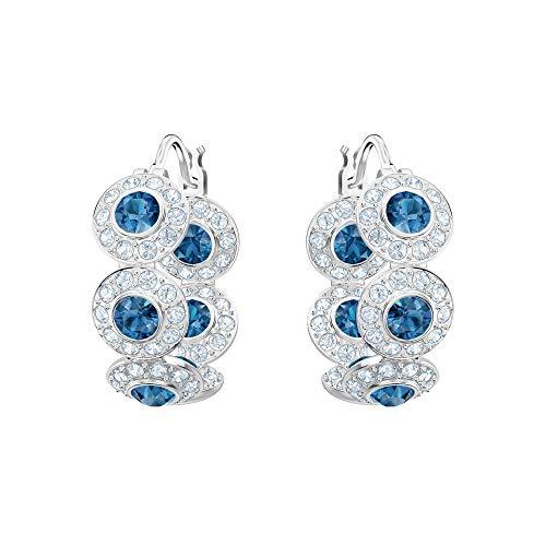 Swarovski Crystal Angelic Blue Rhodium-Plated Hoop Earrings